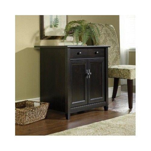 Black Cabinet Wood Cupboard Free Standing Adjustable Shelf Drawer ...