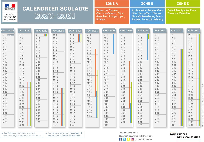Calendrier Scolaire 2019 Et 2021 Calendrier scolaire | Calendrier scolaire, Calendrier vacances