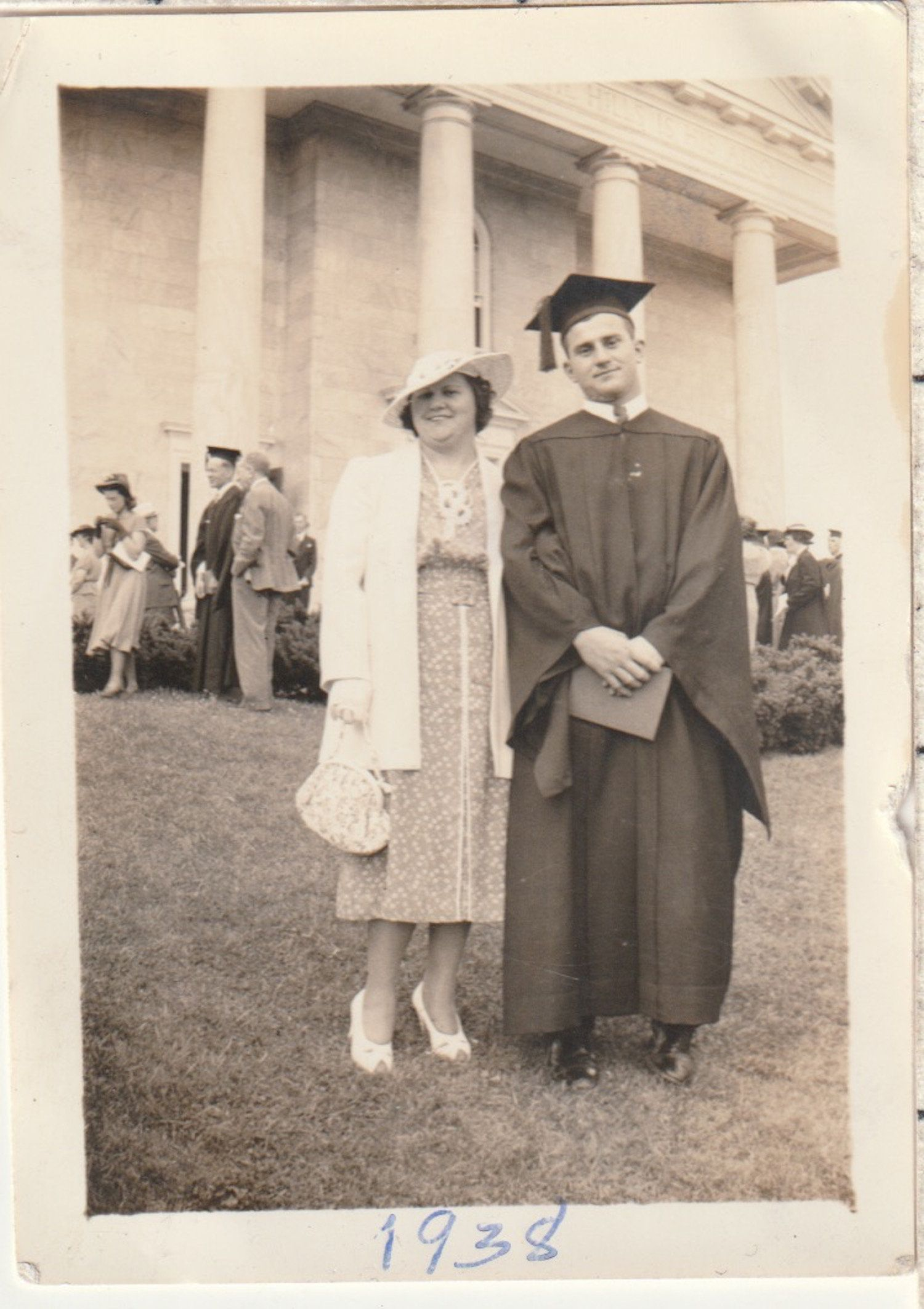 College Graduate Stands With Proud Mother Vintage Photograph