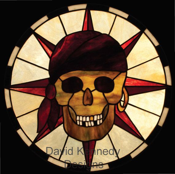 Pirate Skull Stained Glass Panel.© David Kennedy Designs