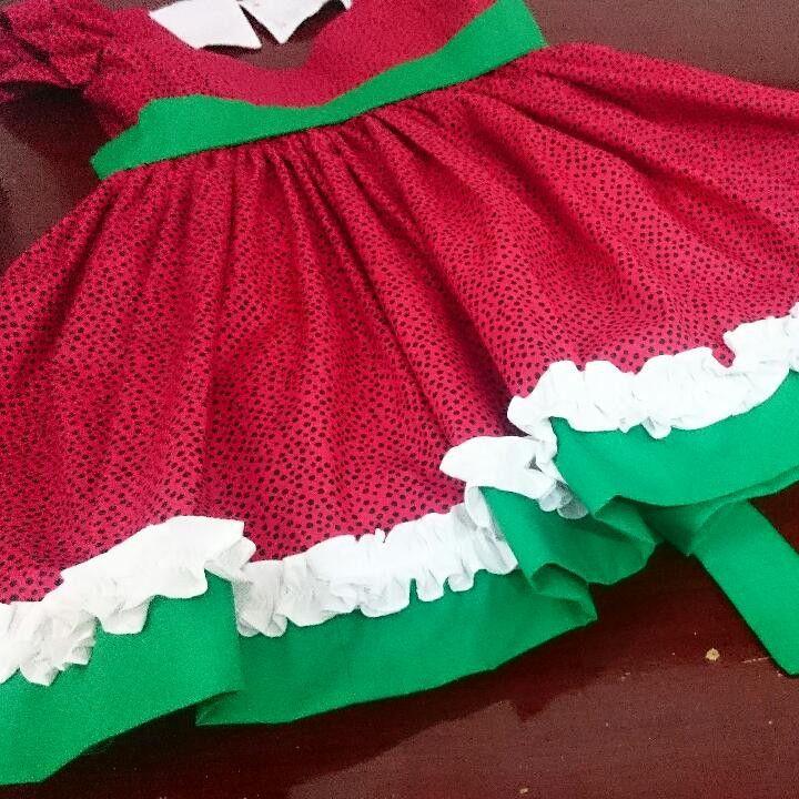 6eba099c774e Vestidinho em tricoline 100% algodão. Vestido vermelho com bolinhas pretas,  Barra verde e