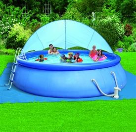 Float to Fill ™ Ring Pool Set with Sun canopy for shade on extra-hot days. #SizzlingSummer #BackyardOcean