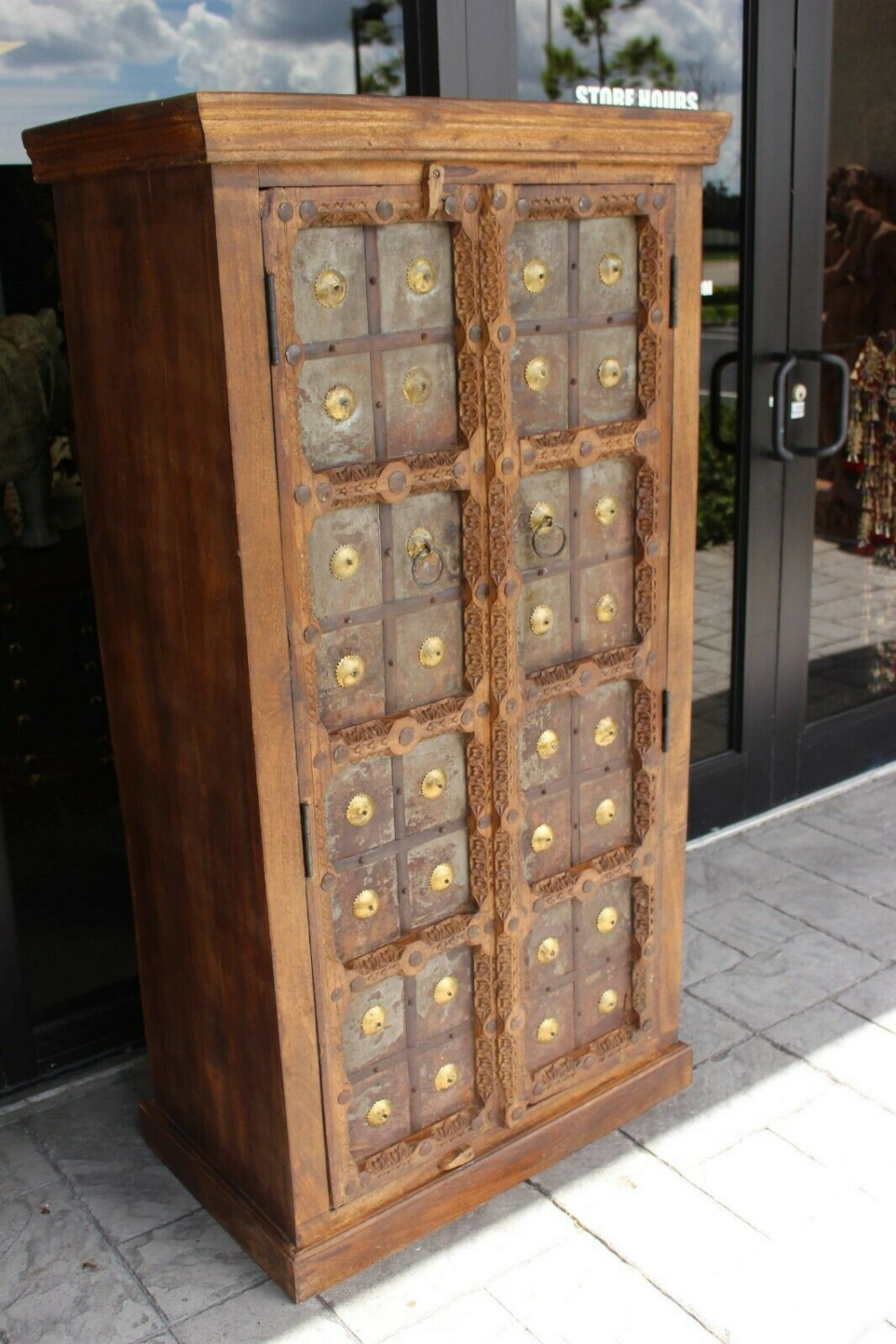 Best Antique Rustic Armoire Indian Solid Wood Iron Cladded 640 x 480
