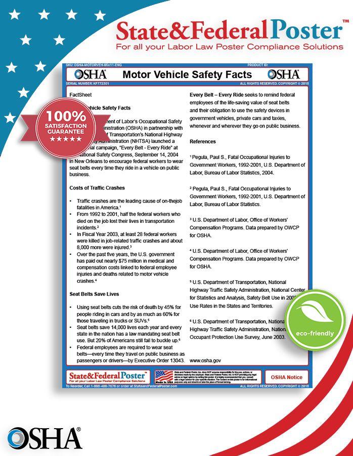 OSHA Motor Vehicle Safety Factsheet! (OSHA) in partnership