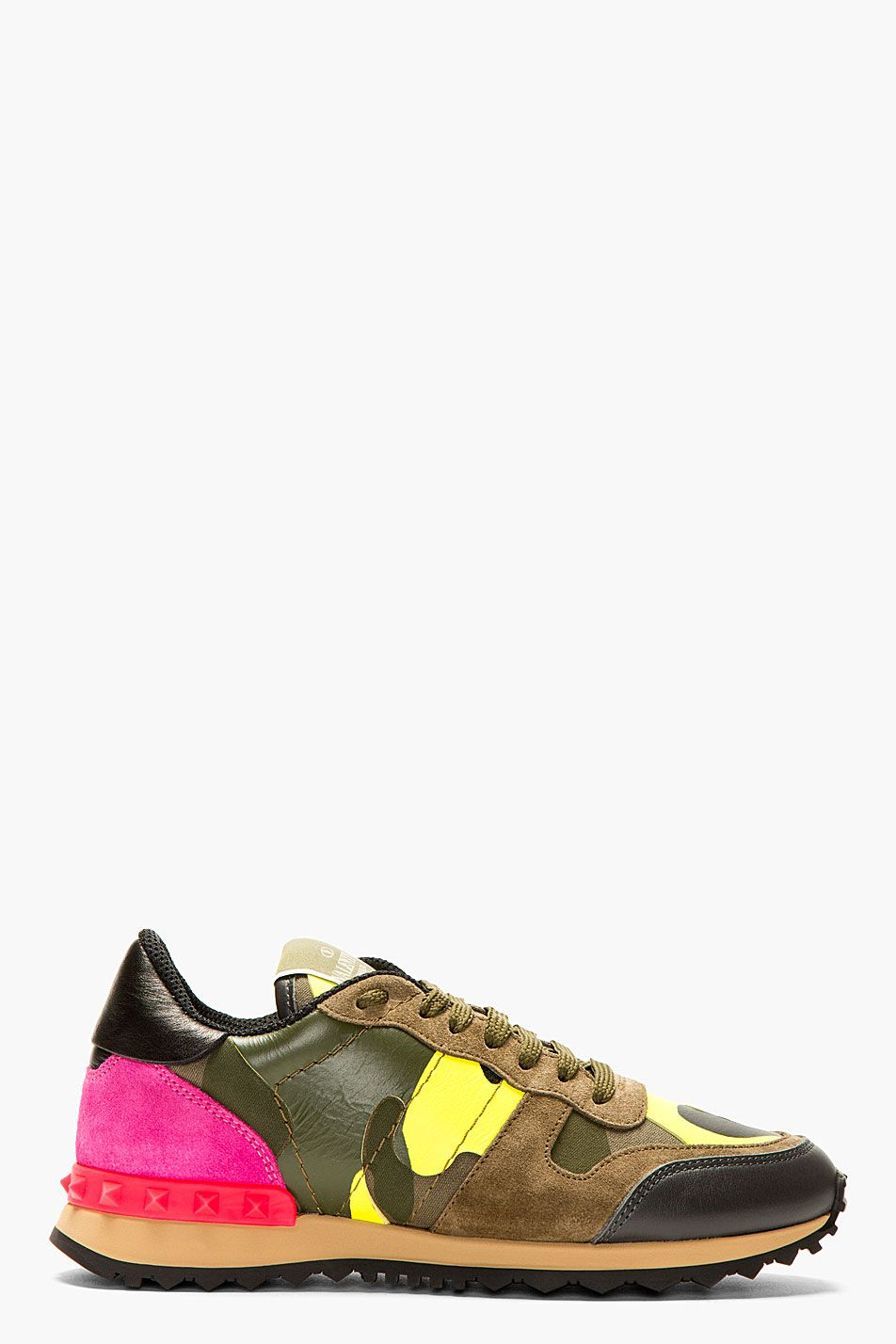 f09097d4be34 VALENTINO Fluorescent Pink   Yellow Camo Print Sneakers