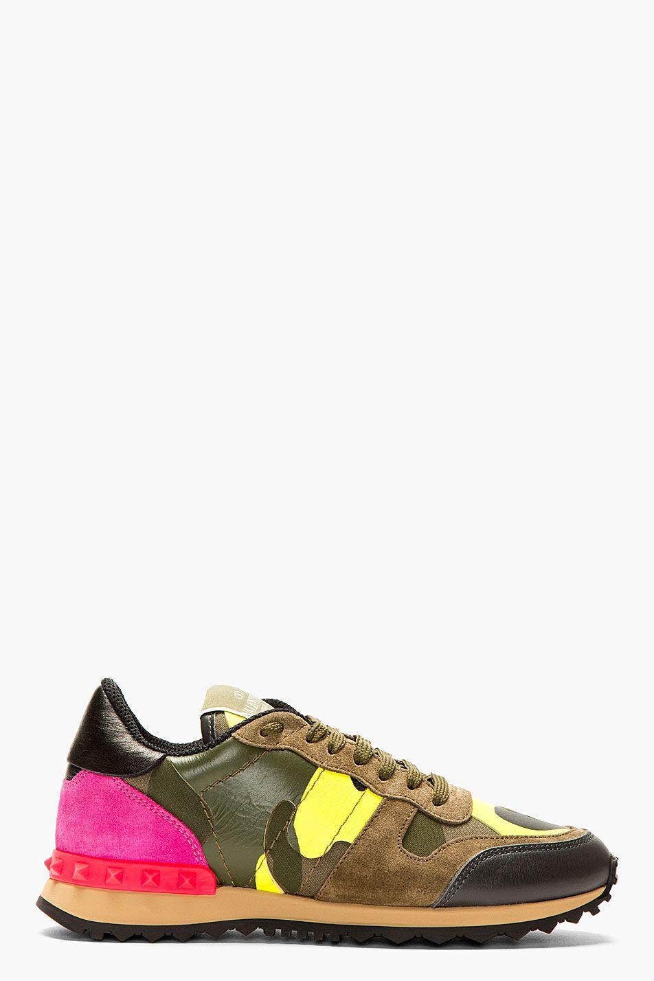 82a2614e0 VALENTINO Fluorescent Pink & Yellow Camo Print Sneakers   can i kick ...