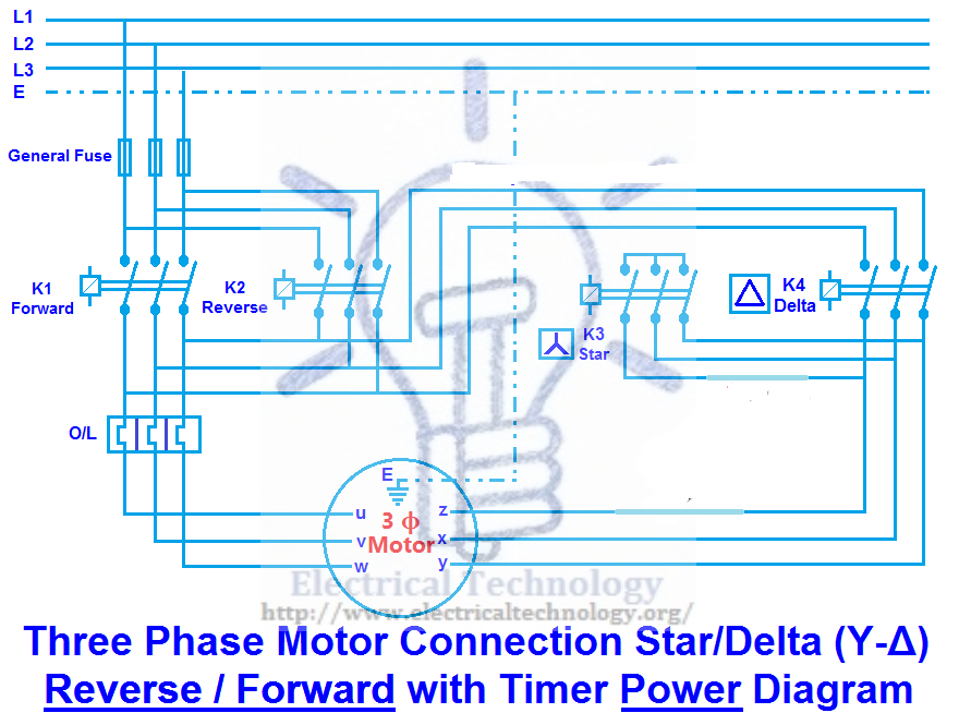 Three Phase Motor Connection Star/Delta (Y-Δ) Reverse and ... on star sv32j basic wiring schematics, star delta switch, star delta starter connection, delta y wiring, delta and wye wiring, star control circuit wiring, star delta selecter, star connected motor, star delta diagram,