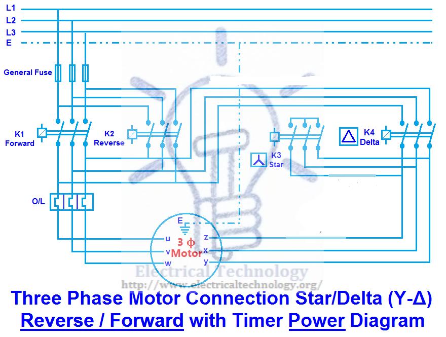 Three Phase Motor Connection Star/Delta (YΔ) Reverse