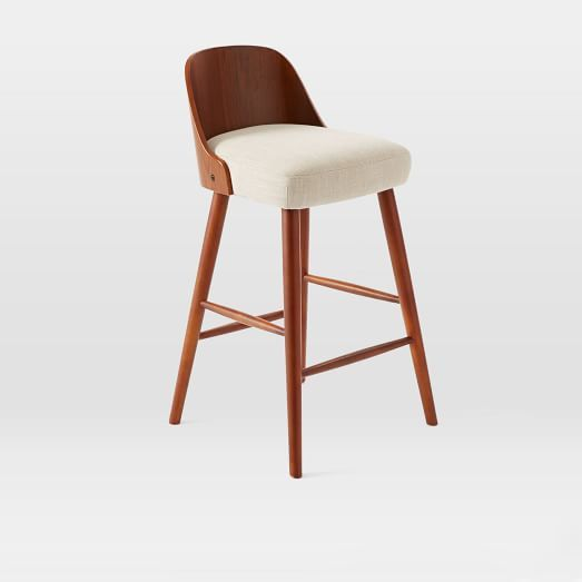 Bentwood Bar + Counter Stool | west elm. seat height 24.5, back height 8.25, overall 18.3 diam, 34h.