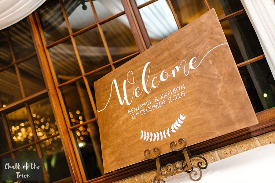 Elegant white lettering on treated pine Chalk of the
