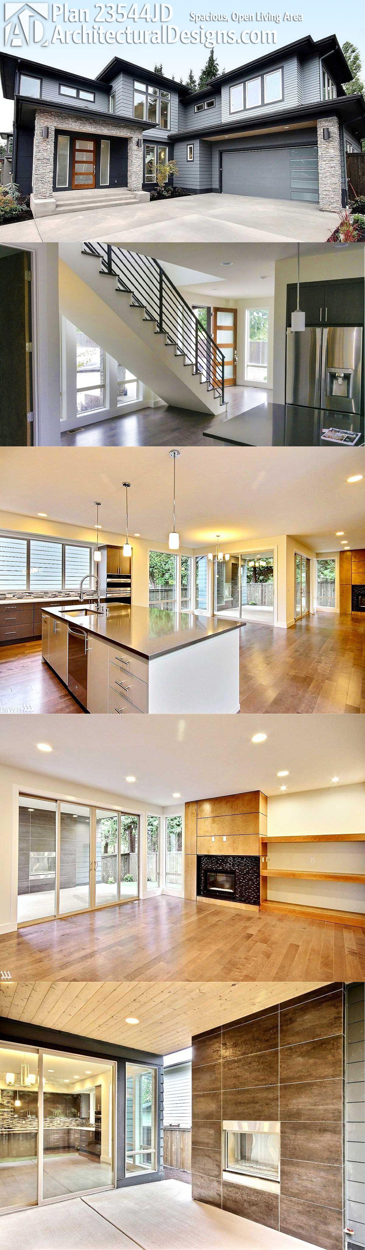 plan 23544jd spacious open living area pinterest modern house