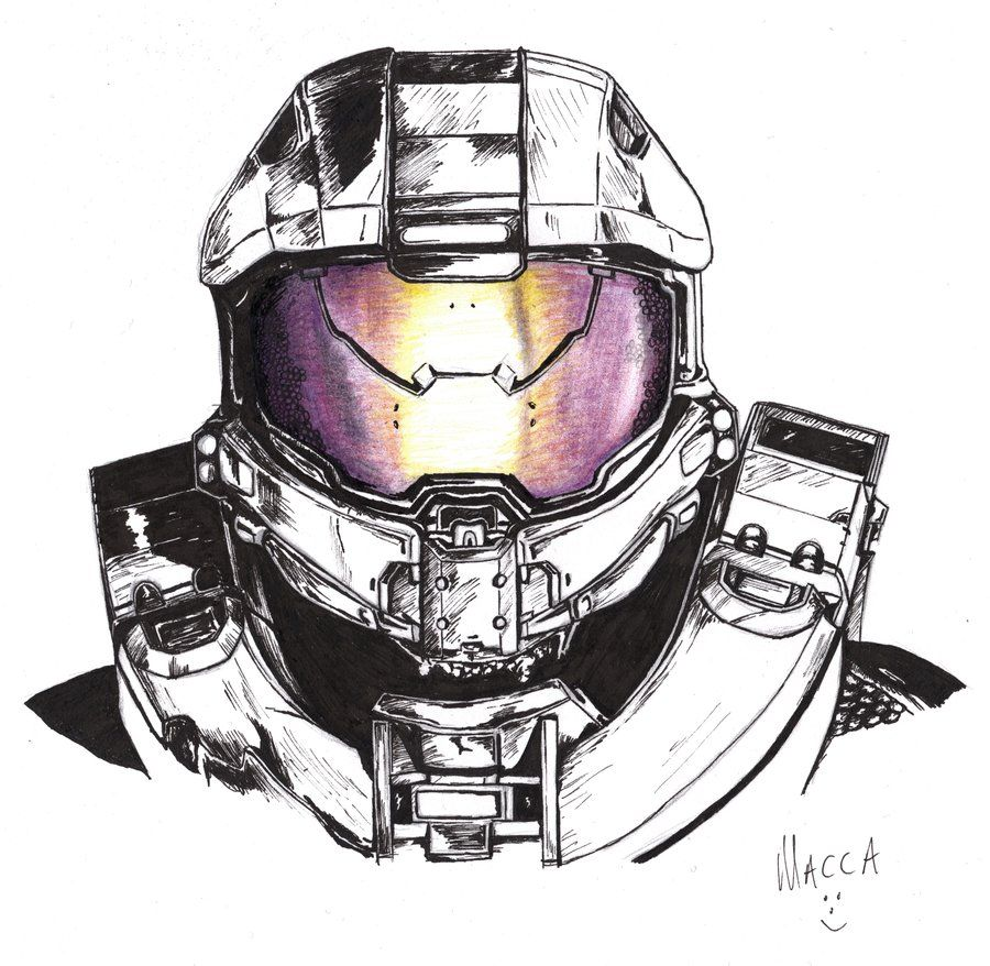 Master Chief Halo 4 In Pen By Macca Chief Deviantart Com