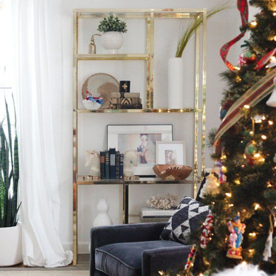 christmas home tour eclectic traditional using unique home decor and vintage items hollywood regency meets boho meets mid century modern - Vintage Christmas Home Decor