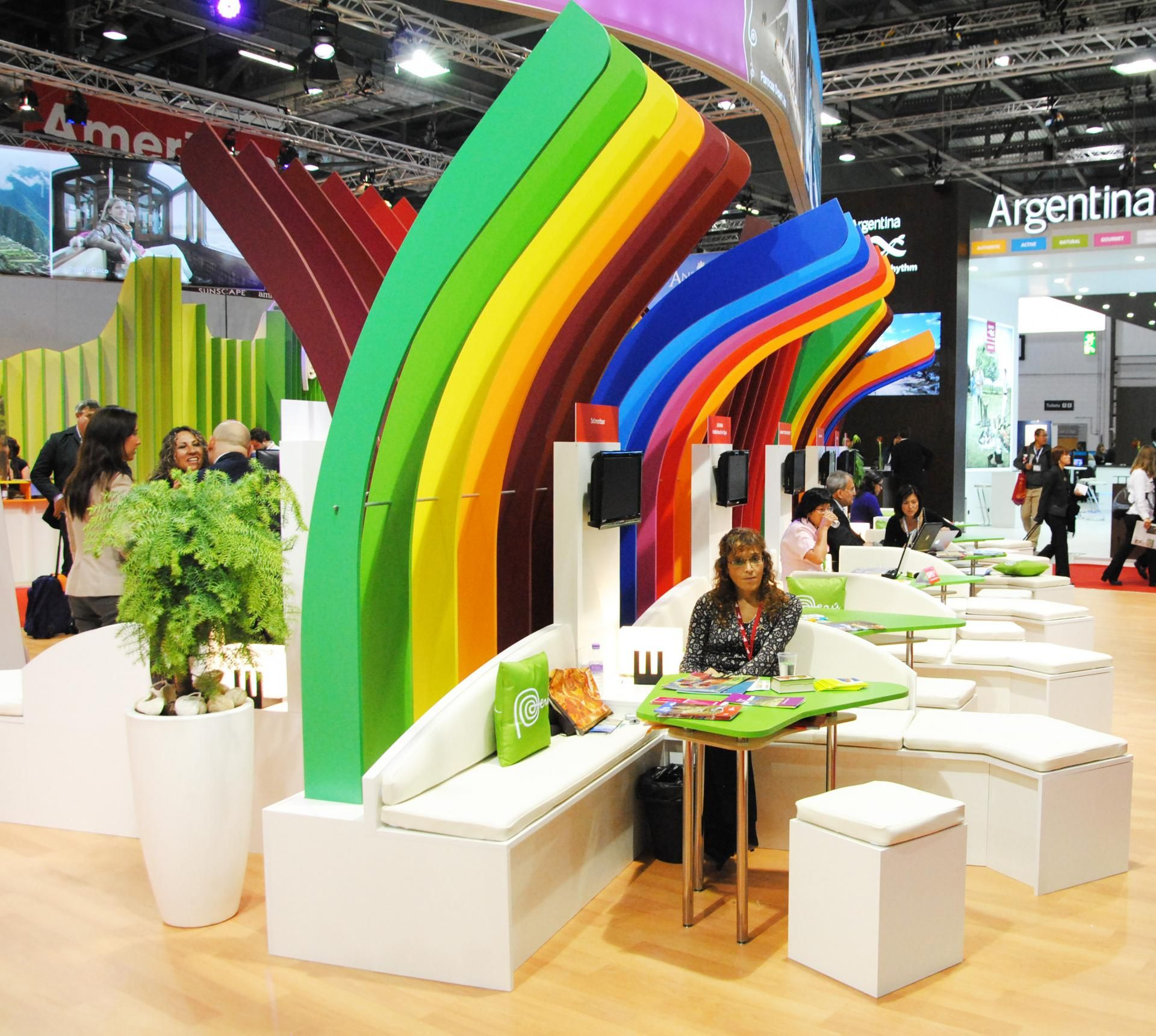 Kids Exhibition Booth : Colorful booth design rainbow exhibit tradeshow