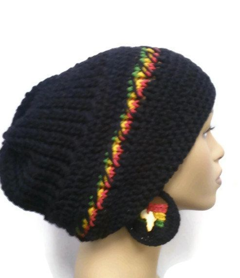 Black slouch hat Dreadlock hat with rasta stripes by ScarFanatic ...