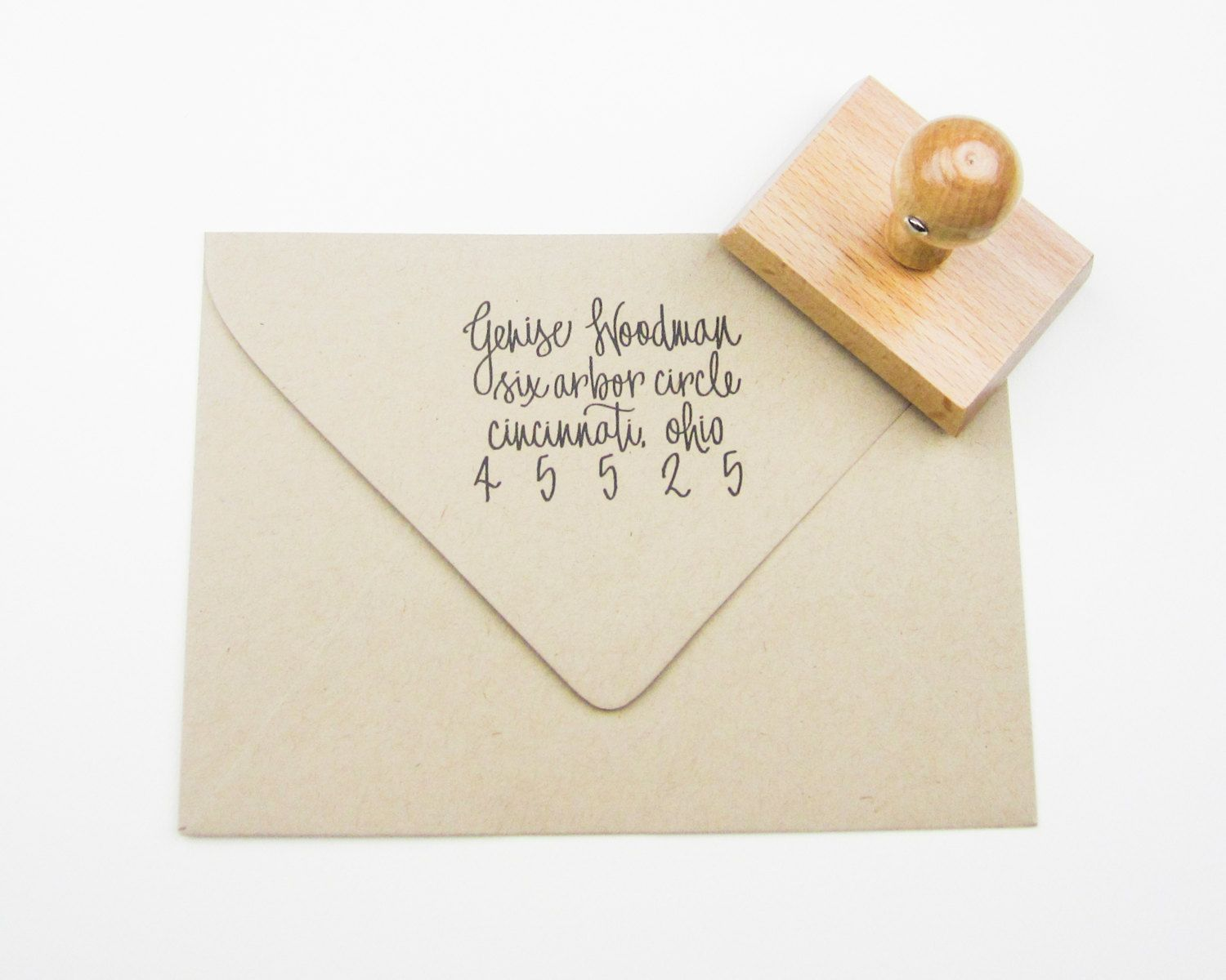 how to return address wedding envelopes%0A This personalized return address stamp features my hand calligraphy with  your name and address  Lovely