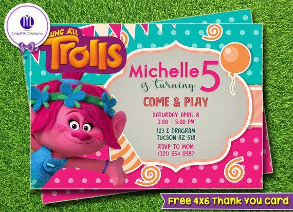 Trolls Invitation Party Birthday By