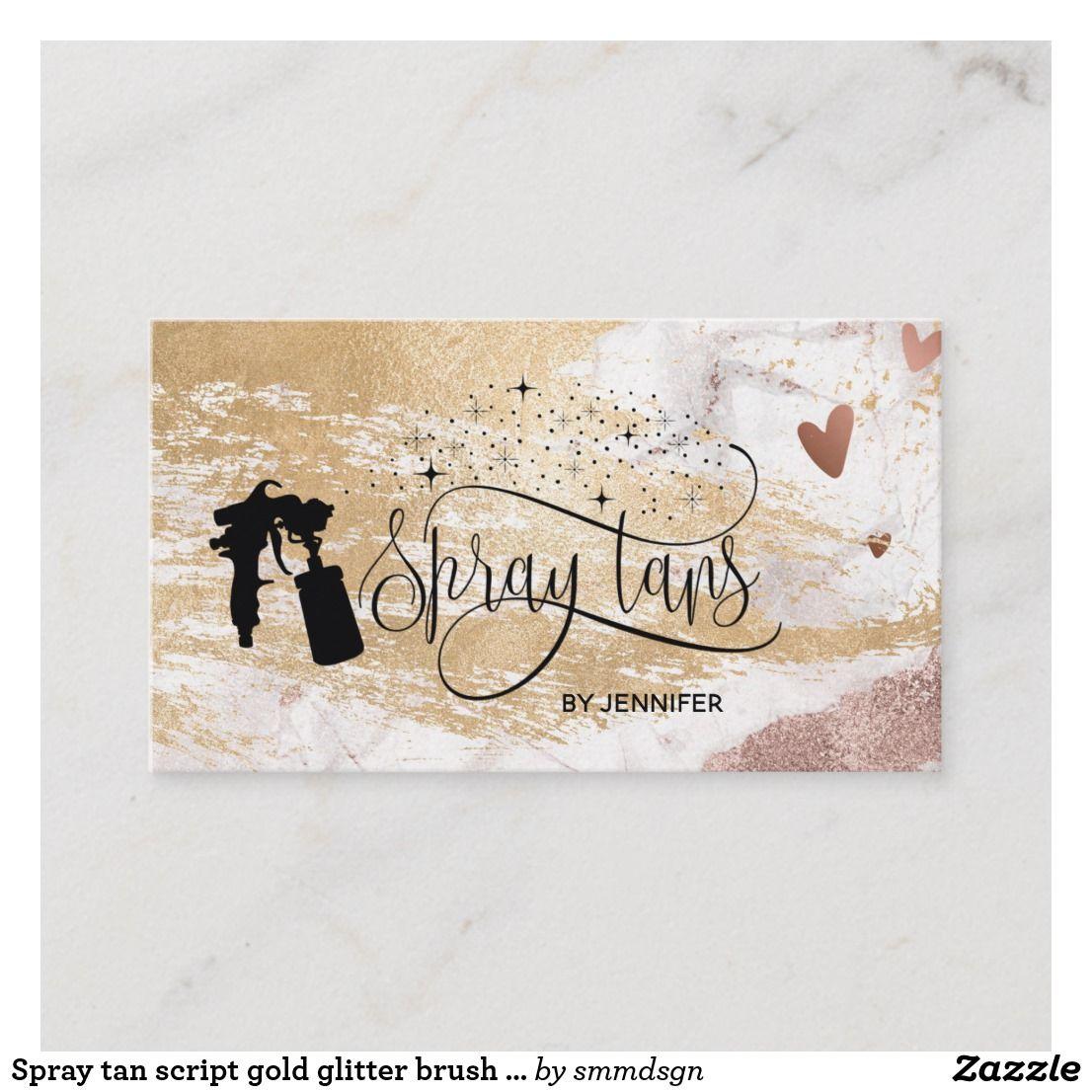 Spray Tan Script Gold Glitter Brush Stroke Hearts Business Card Zazzle Com Spray Tanning Spray Tan Business Spray Tan Business Cards