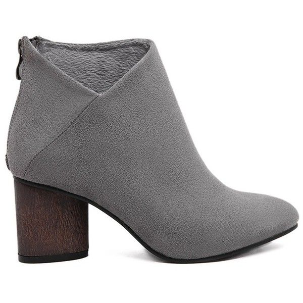 Suede Solid Color Pointed Toe Ankle Boots ($29) ❤ liked on Polyvore featuring shoes, boots, ankle booties, suede bootie, ankle boots, short boots, suede ankle booties and pointed toe bootie