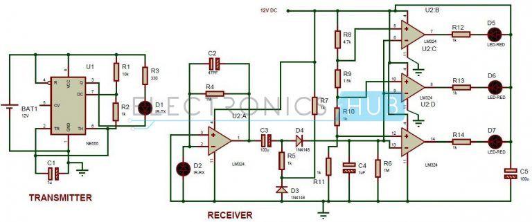 Reverse Parking Sensor Circuit For Car Security System Electronic