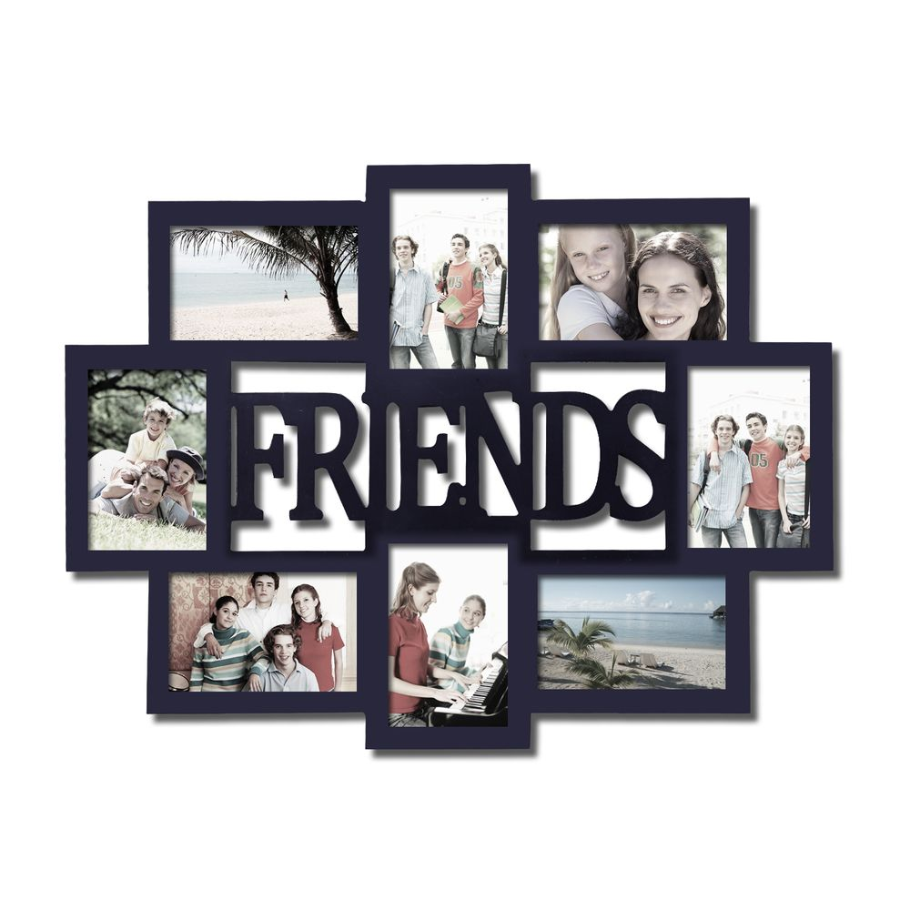 Adeco \'Friends\' 8-opening Black Wooden Photo Collage Frame (Adeco 8 ...