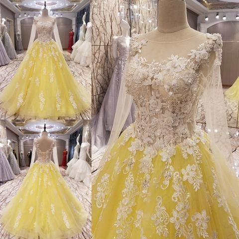051a16076f TW13 New Arrival A Line Long Sleeve Yellow Prom Dress with Flowers,Pro –  FashionDressGallery