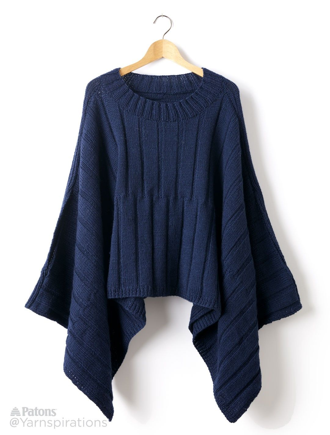 Reversible Ribbed Knit Poncho - Patterns | Yarnspirations | Free ...