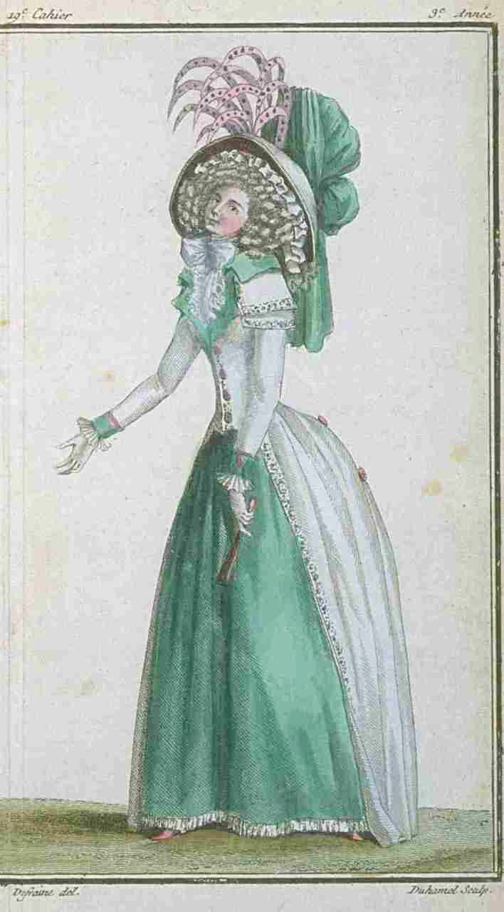 """Two fashion plates illustrating fashionable redingotes from the """"Magasin des Modes"""" for March and May 1788"""