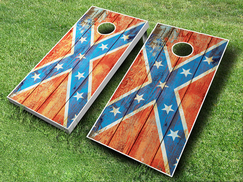Distressed Confederate Flag Cornhole Board set for sale on our website http://www.midwestcornhole.com/all-american-sets/