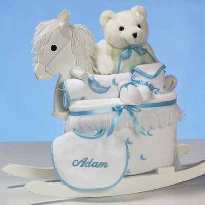 Deluxe rocking horse baby boy gift set personalized baby gift deluxe rocking horse baby boy gift set personalized negle Image collections