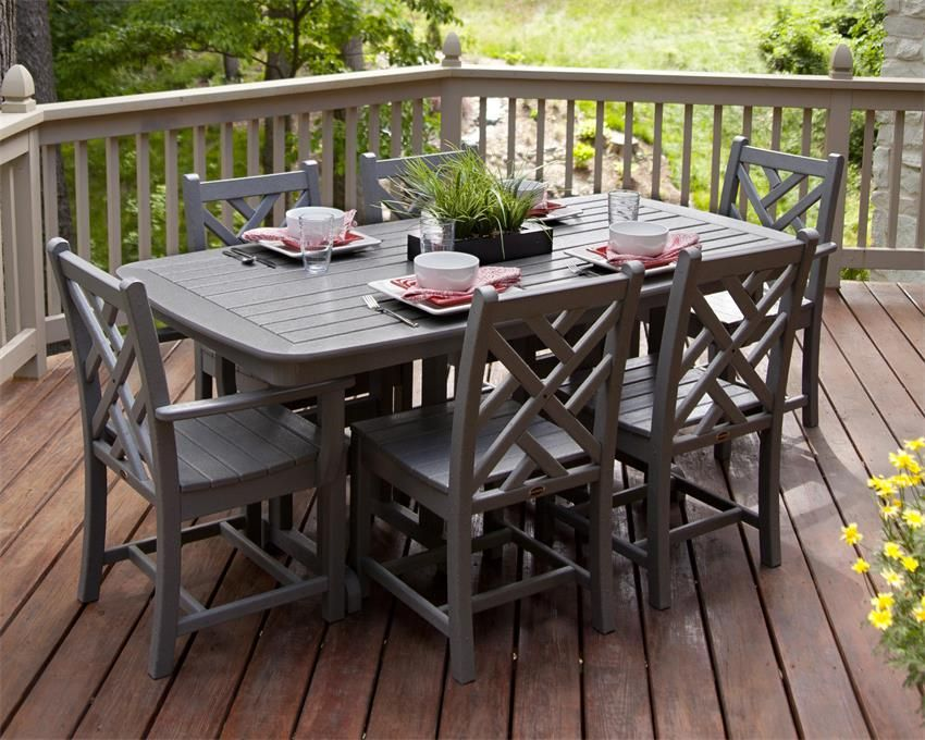 Polywood Chippendale 7 Piece Outdoor Dining Set Patio Dining