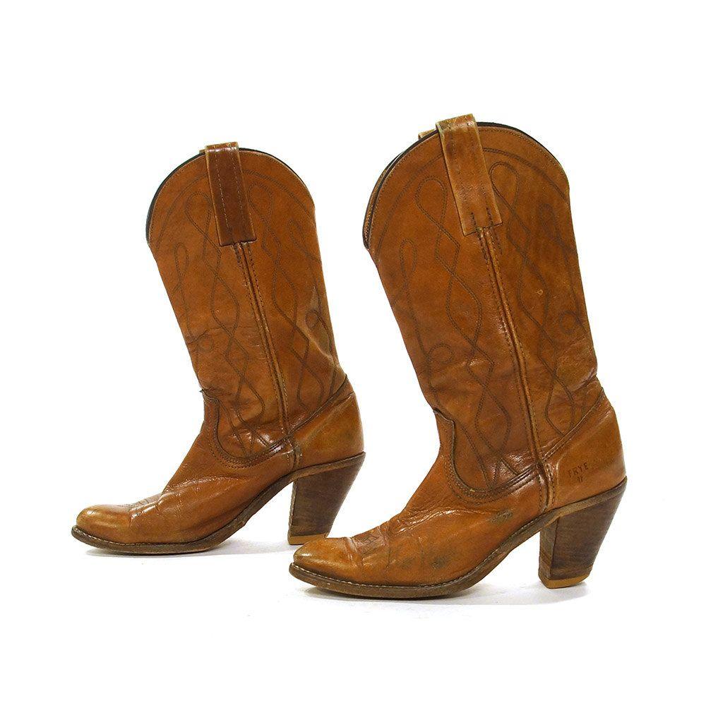 1652bdad467 70s FRYE High Heel Cowboy Boots / Vintage 1970s Embroidered ...