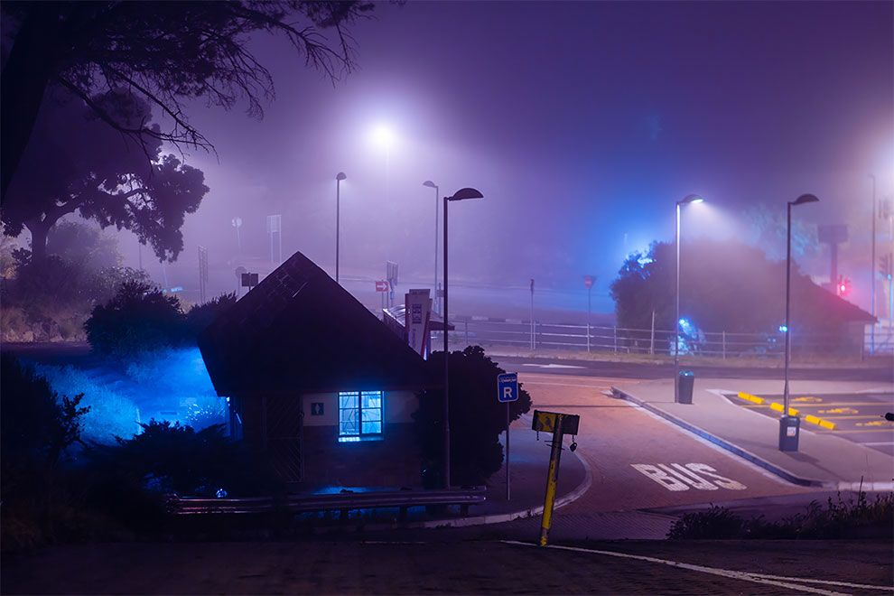 Dreamy Nighttime Country Side City Scenes Bathed In Neon By Photographer Elsa Bleda Urban Landscape City Scene Photo