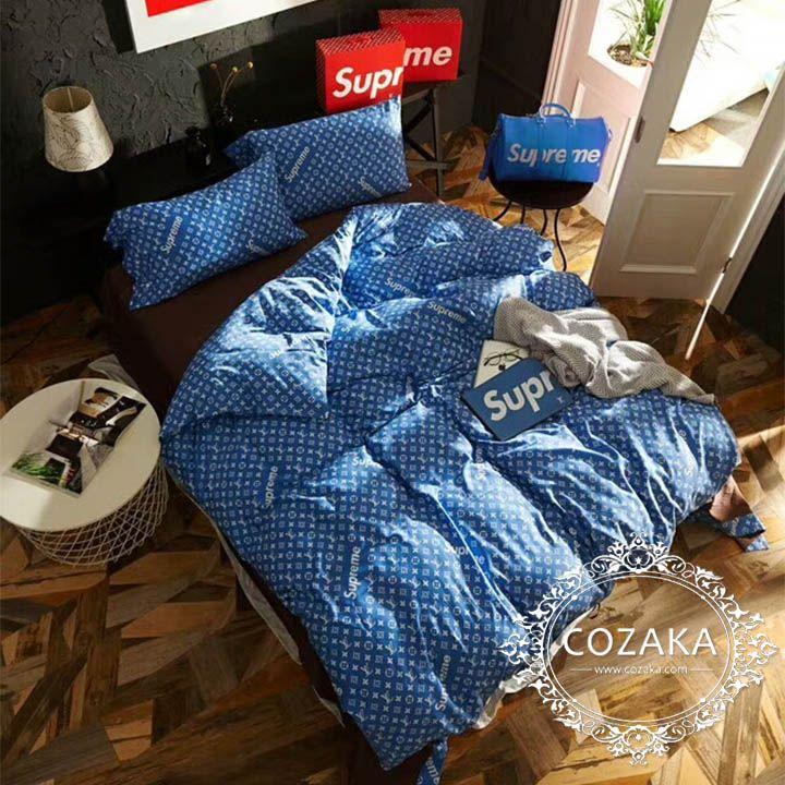 LV supreme コラボ 掛け布団カバー/ベッドシーツ/枕カバー 4点セット 洋式 おしゃれ 綿製 Bed