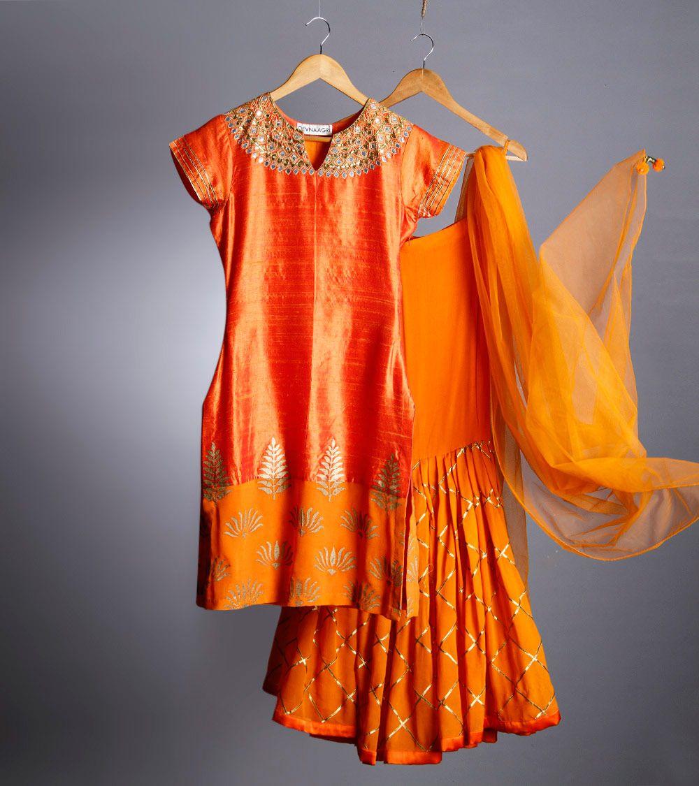 Orange Raw Silk Sharara Set with Gota Patti