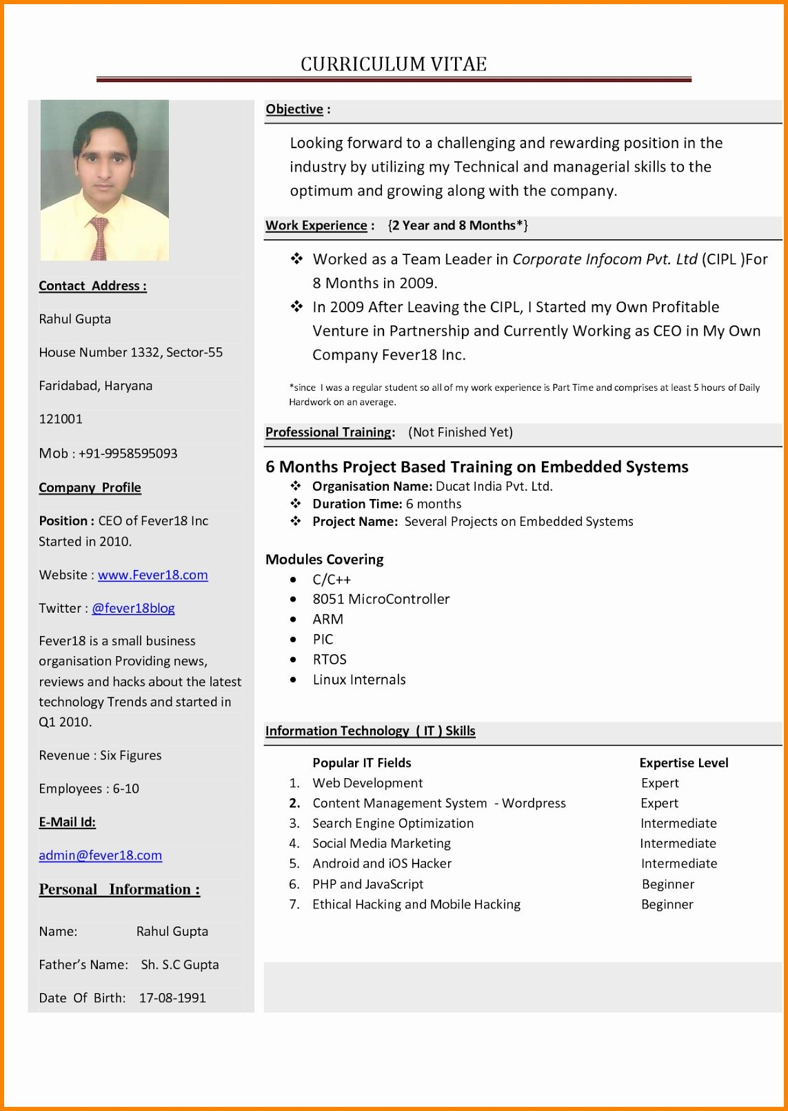 25 Microsoft Word Resume Templates 2010 in 2020 New