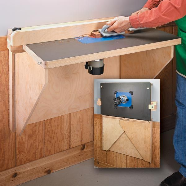 Space saving router table woodsmith tips router table for Wood router ideas