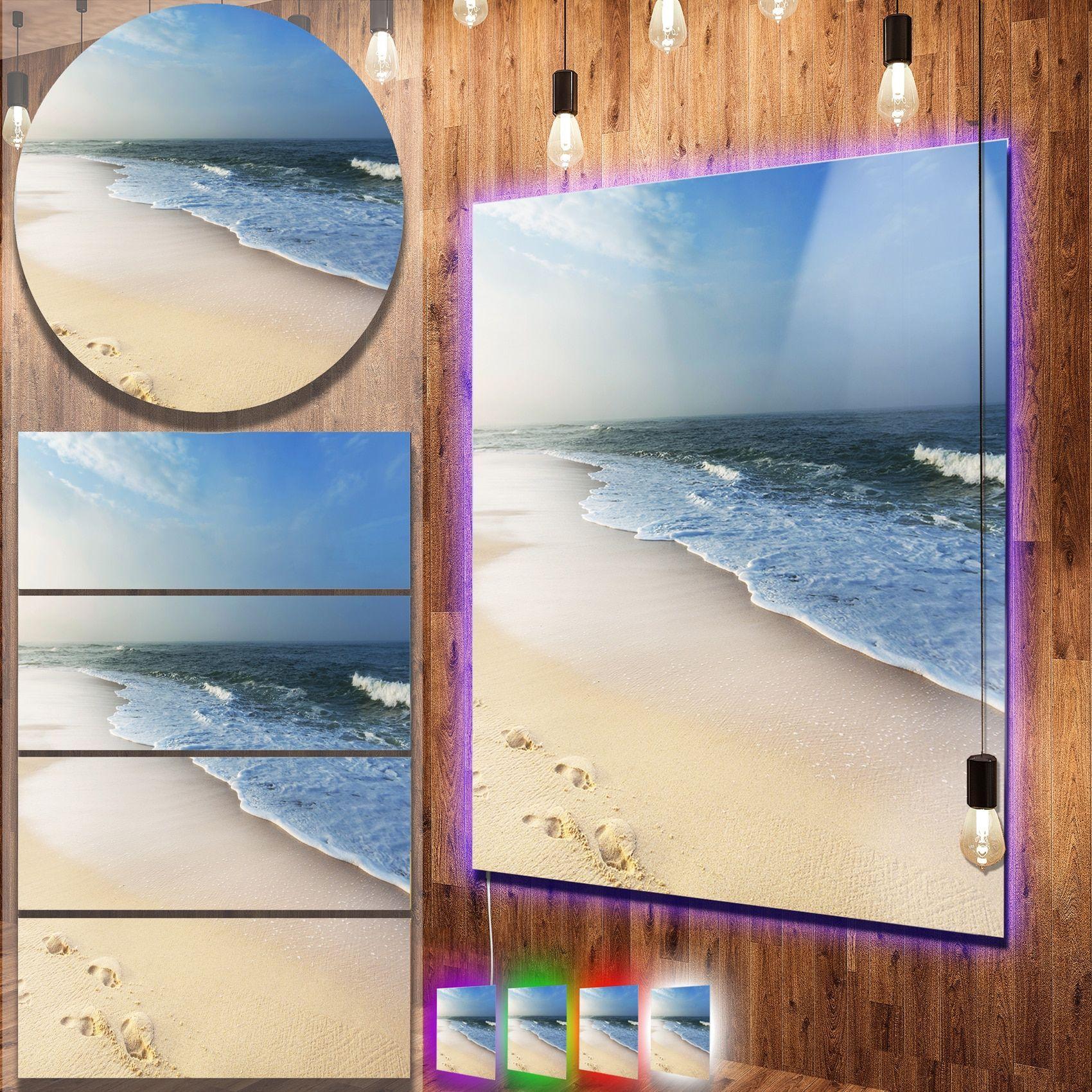 Designart uclam tropical beach with footprintsu seashore metal wall
