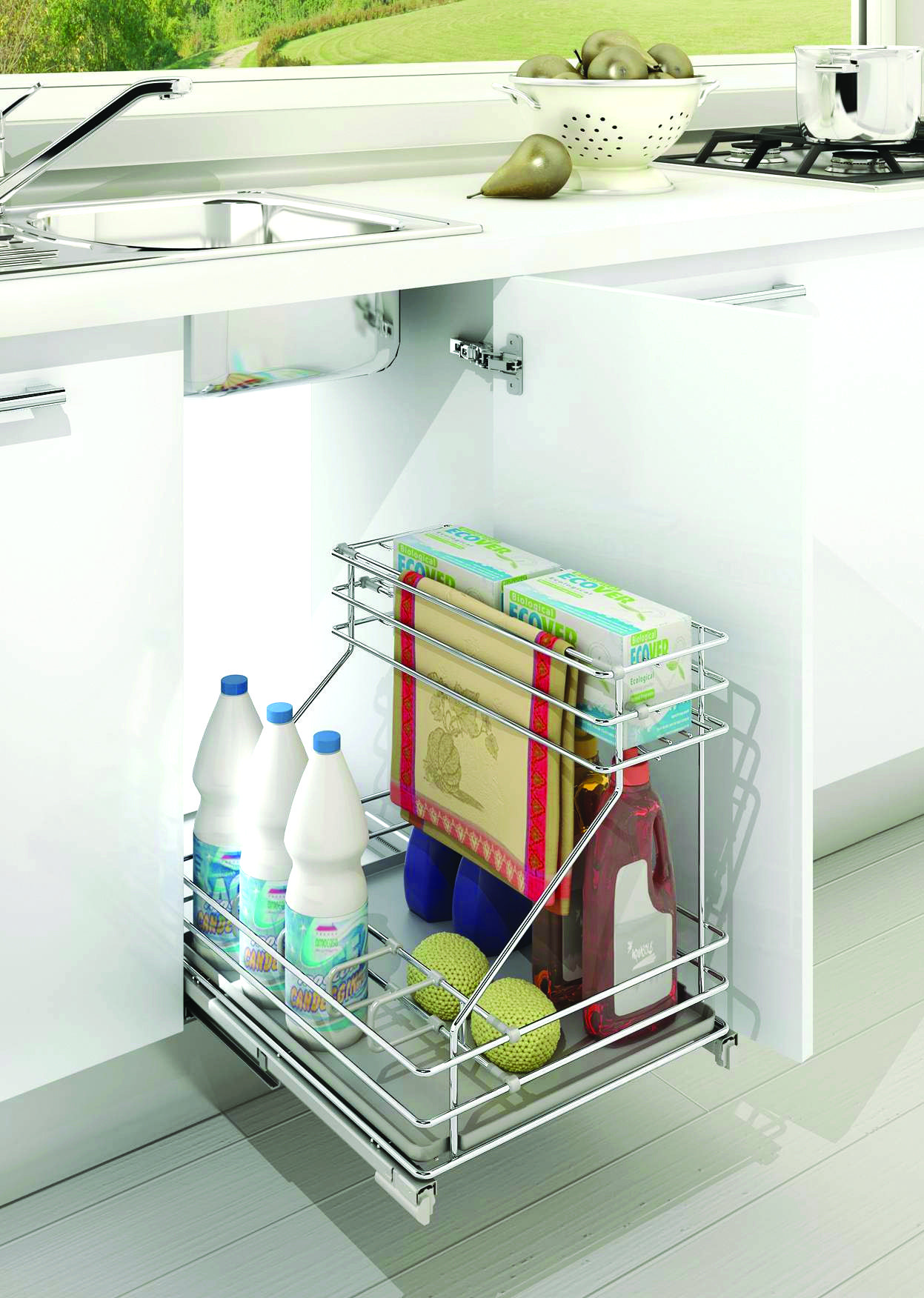 Under Sink Pull Out Kitchen Organizer on over sink shelf kitchen, countertop organizer kitchen, under sink storage, 3 tier shelf organizer kitchen, under sink cabinet, camping organizer kitchen,