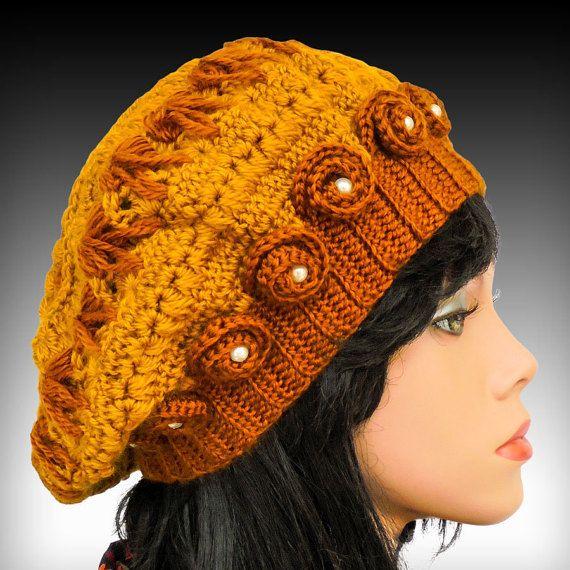 Chapeau au crochet avec une fleur au crochet modèle de chapeau bonnet Tuque… … | Modèles de ...