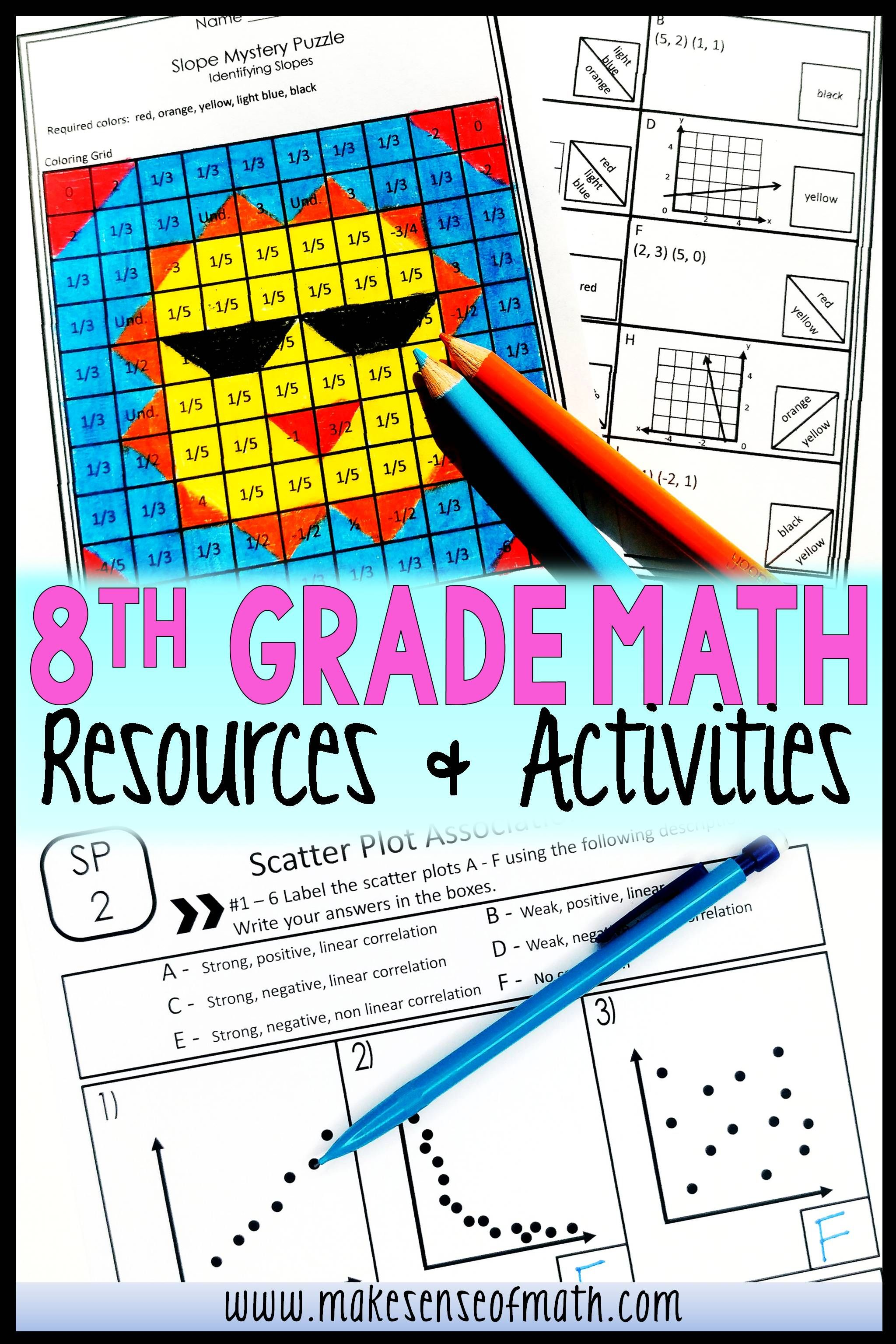 8th Grade Math Resources And Activities 8th Grade Math Math Games Middle School Maths Activities Middle School [ 3072 x 2048 Pixel ]