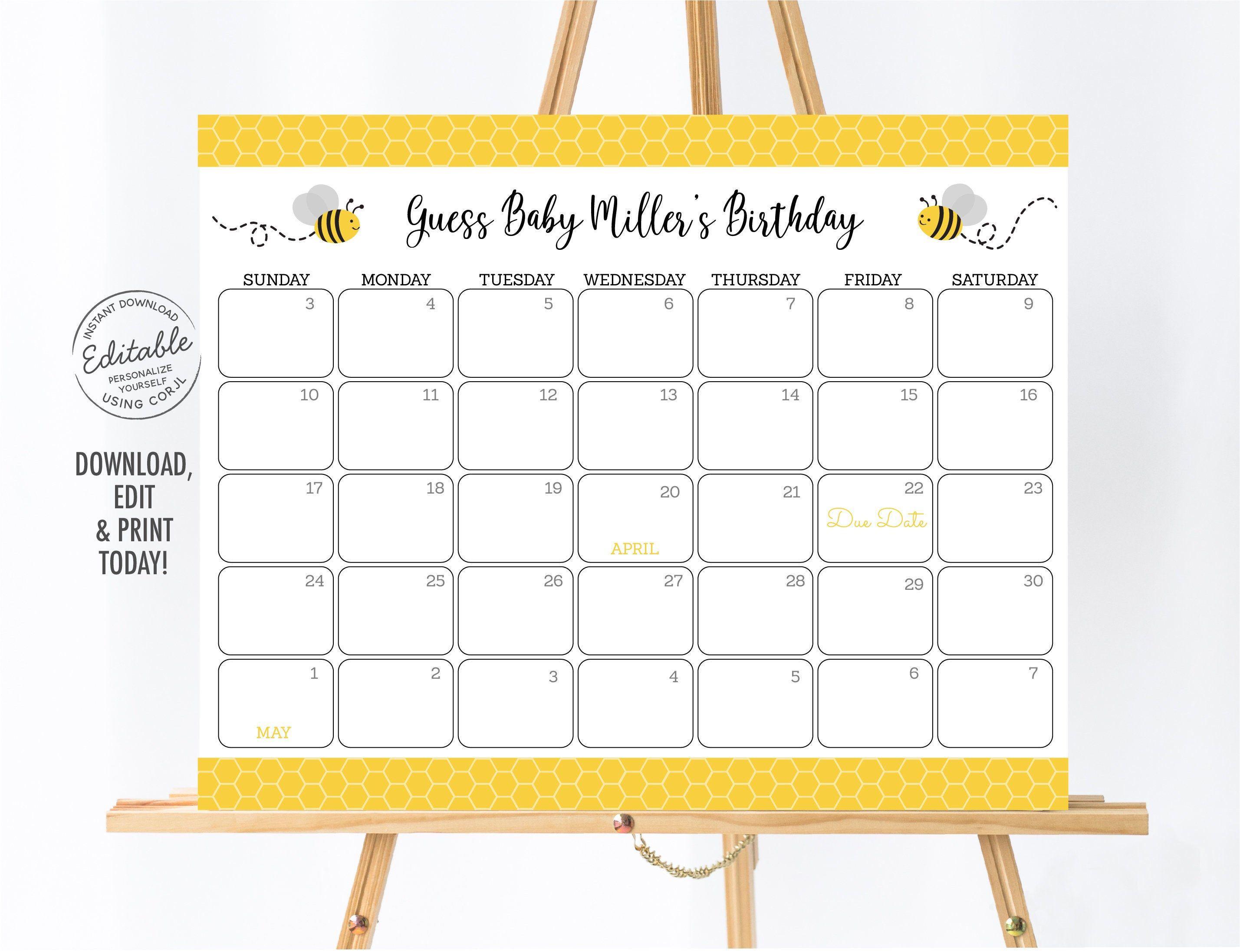 Bee Baby Due Date Calendar Bee Baby Shower Birthday