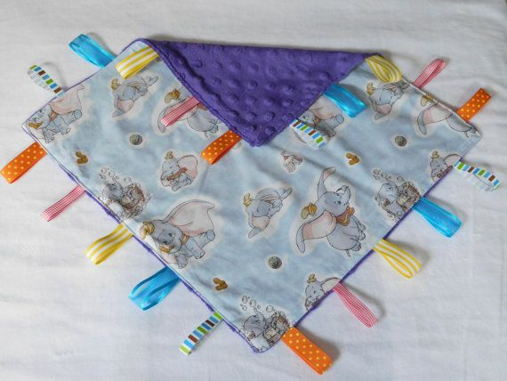 Classic Dumbo Taggy blanket/ Minky blanket cotton by MillyandLulu