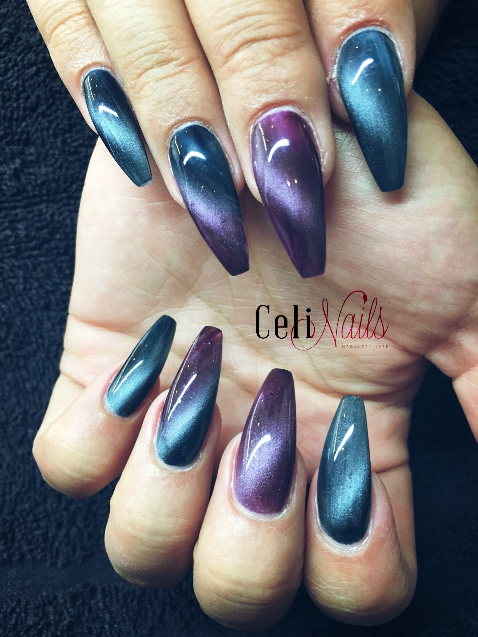 Purple Cateye Nails Nail Design Pinterest Ombre