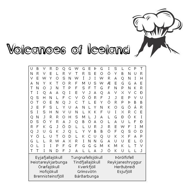 Nice Find A Word On The Volcanoes Of Iceland Teaching 6th Grade