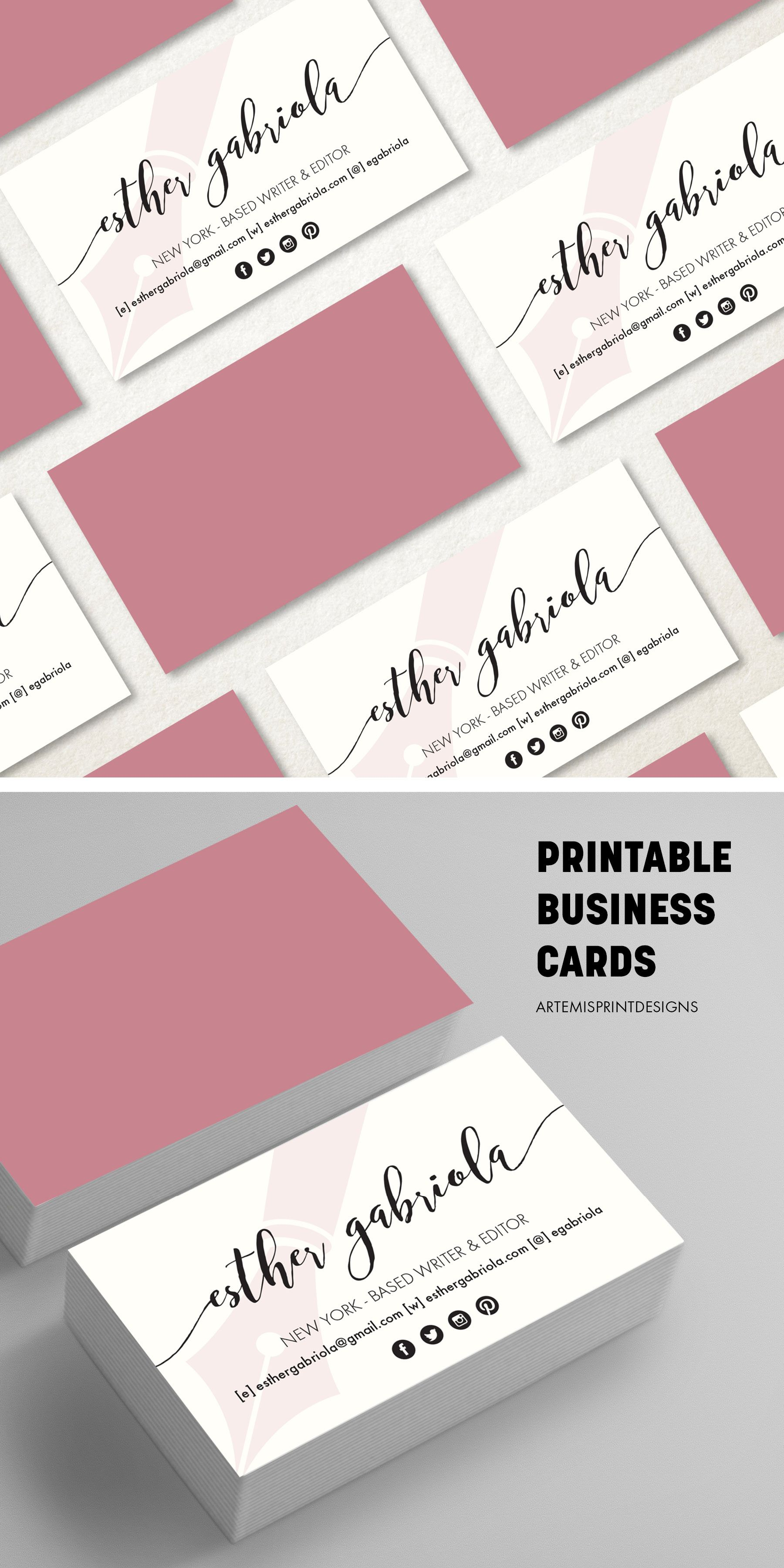 Pink Business Card Printable Classy Business Cards Printable Business Cards Pink Business Card