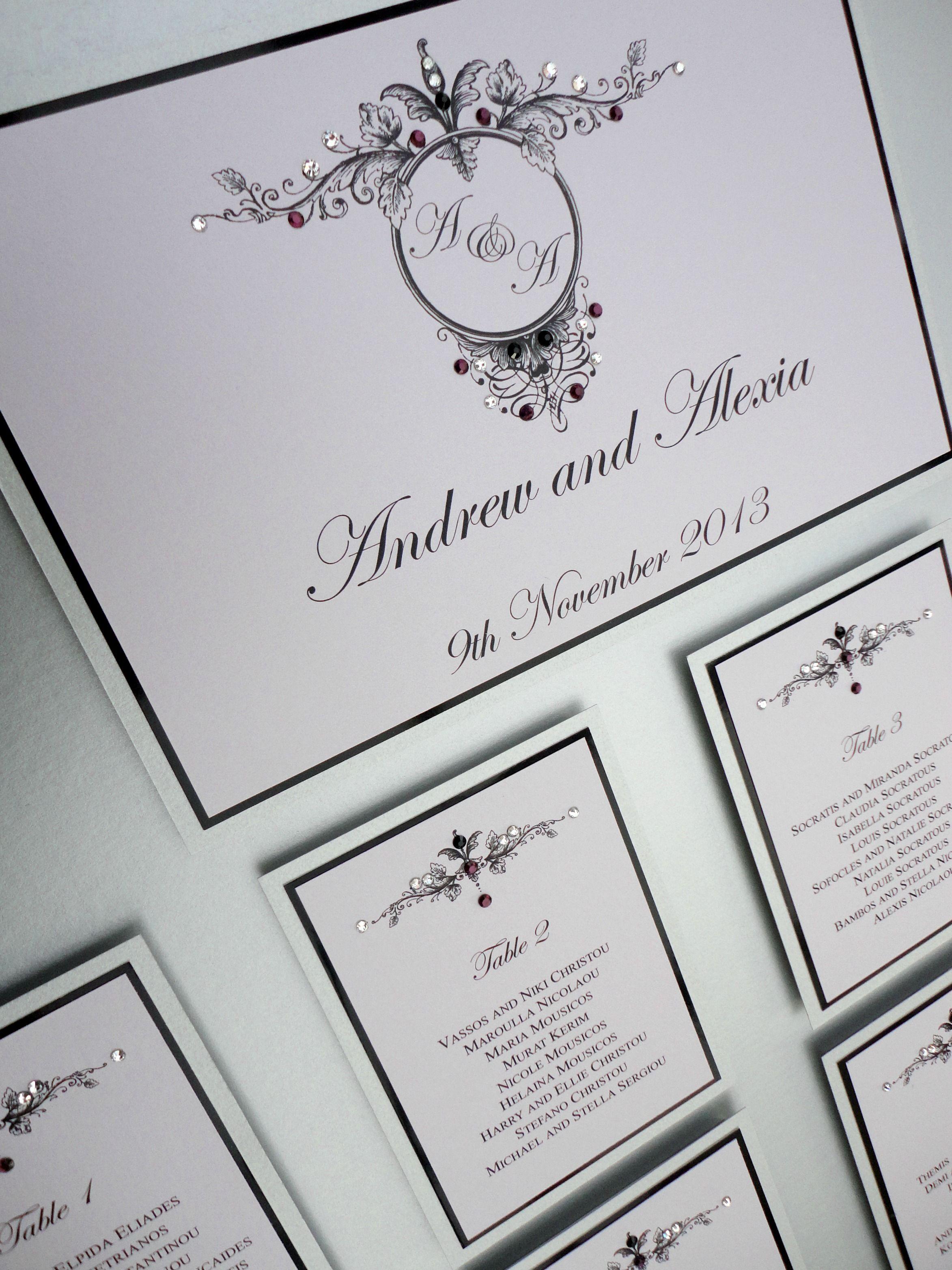 Wedding table plan decorated with Swarovski crystals #wedding ...