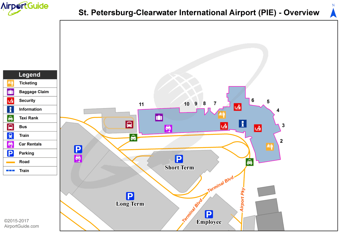 St Petersburg Clearwater St Pete Clearwater International Pie Airport Terminal Map Overview Clear Water Airport Guide Airport