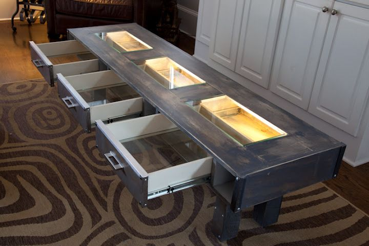 Glow Table 3 Glass Drawers Allow Light To Filtrate And Create And Highlight Shapes And Colors Of Content Glow Table Led Recessed Lighting Interior