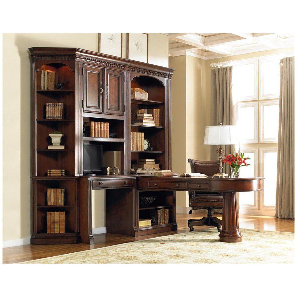 Furniture European Renaissance Ii Office Wall Unit With Dual Access Peninsula Desk And Display Hutches Kensington L Shape
